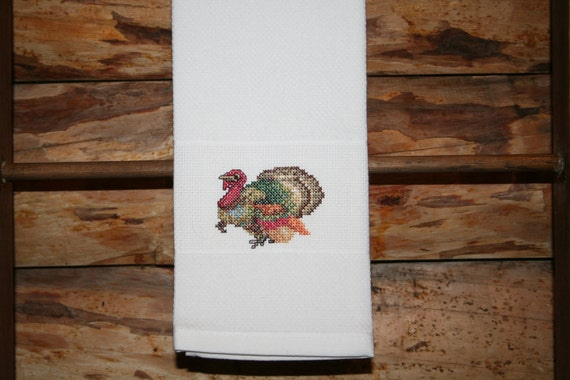 Thanksgiving Huck Towel with Cross Stitched Turkey.