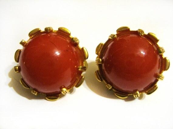1940s Nettie Rosenstein Clip Earrings- Faux Coral Cabochons