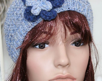 Blue Knit Lacey Beanie Hat with Flower- READY TO SHIP