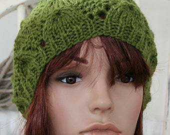 Knitted Alpaca Hat in Bright Green- READY TO SHIP