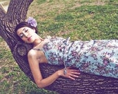 LAST ONE :)  Fall In Love - Summer Dress - Floral Denim Dress With Belt