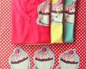 Super sale - Cupcake T-shirt With Sequins Sprinkled On Top, colorful short sleeve athletic sporty comfy shirt