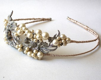 Vintage Sparkling  Double Side Diamante, Marcasite and Pearl Tiara Hairband