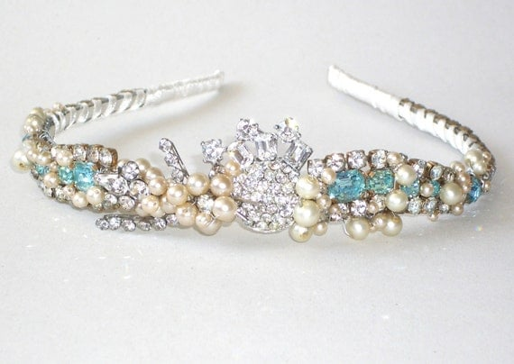 Something Blue - Vintage Sparkling Blue Diamante and Pearl Tiara Hairband