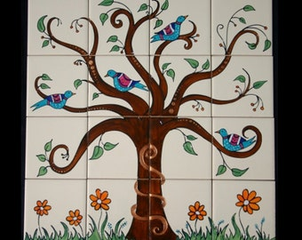 handpainted ceramic tile mural