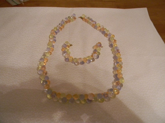Signed Monet Lucite Bubbles Necklace and Braclet
