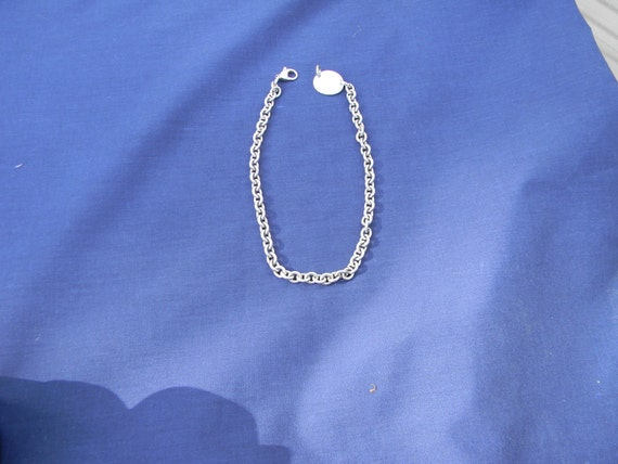 Tiffany and Co Strerling Necklace/Choker With Oval Tag
