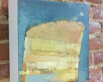 """Original Abstract Oil & Collage Painting """"Composition with Center Front Line"""" 12x12 square"""