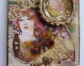aceo original mixed media collage 'Vintage Dream' art collectors card