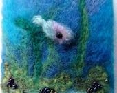 Hand felted miniature picture, set on a card 'underwater fish'