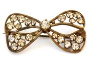 Darling Rhinestone Bow Pin with Antique Gold Finish