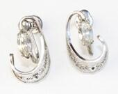 Vintage sterling silver filligree earrings with rhinestones, clip/screw back