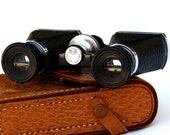 Vintage opera glasses/binoculars by Ofuna with leather case, made in occupied Japan