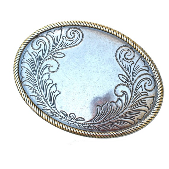 Vintage unisex etched silver belt buckle with room for creativity and engraving