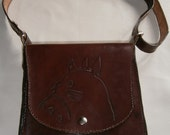 Leather handbag with a Totoro recorded