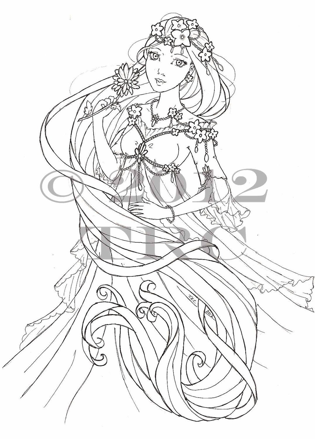 Anime Princess Coloring Pages Printable With Anime Fairy Anime Princess Coloring Pages