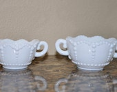 hobnail milk glass creamer // sugar bowl set