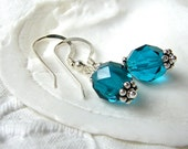 Kathryn S. - Mediterranean blue faceted sparkling crystal earrings