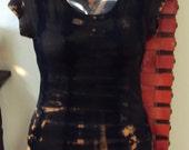 Scoop Neck Tunic length capped sleeve T-Shirt Custom tie dye black, tan, beigy, orange