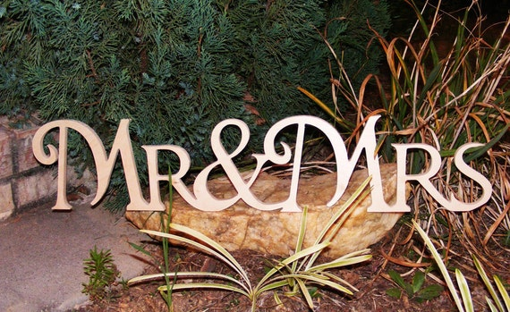 Mr & Mrs connected wooden monogram script letters- freestanding-wedding photo prop-wood sign
