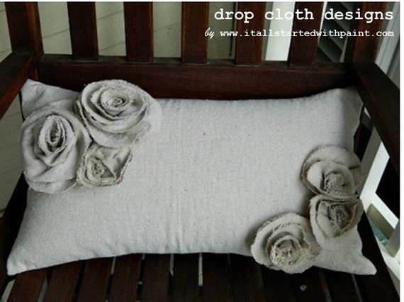 Rosette Drop Cloth Pillow