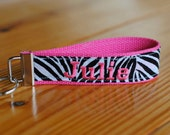 Personalized Monogrammed Zebra print embroidered key chain, key fob - hot pink