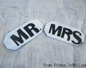 Mr. & Mrs. hand painted wooden signs- Block lettering