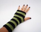 Green/Black Striped Arm Warmers