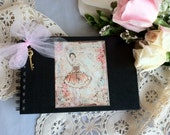 Altered Journal sketchbook with ballerina mixed media art cover, unlined pages