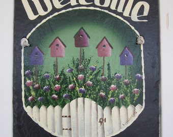 10 X 12 Handpainted Personalized Birdhouse Picket Fence Slate Welcome Sign