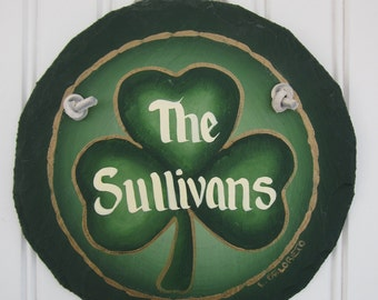 Handpainted Personalized Shamrock Irish Welcome Sign Small