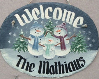 Handpainted Personalized Snowman Family Slate Welcome Sign
