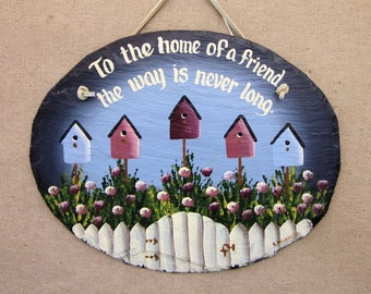 Handpainted Personalized Picket Fence Birdhouse Slate Welcome Sign