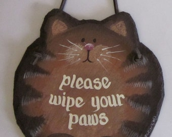 Handpainted Personalized Orange Tabby Cat Slate Welcome Sign