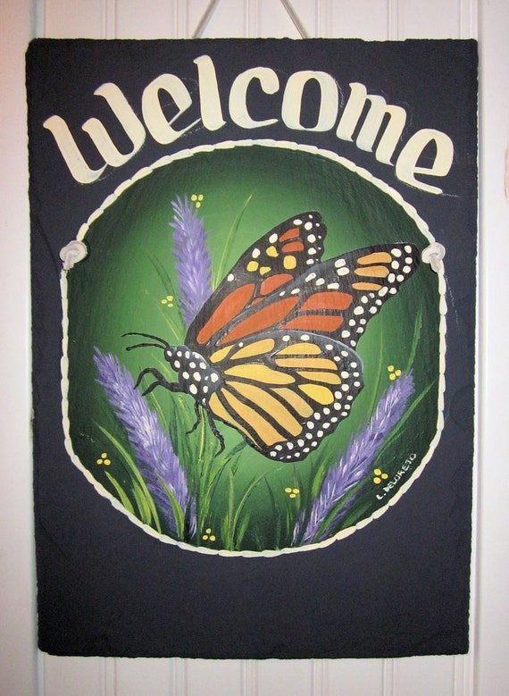 Handpainted Personalized Monarch Butterfly Slate Welcome Sign