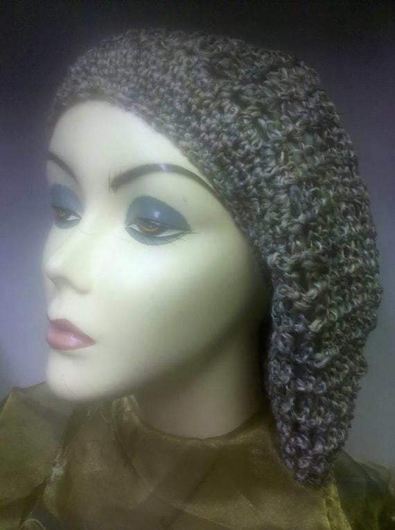 Crochet Hair Net Snood : Crocheted net knitted vintage look hair net snood.