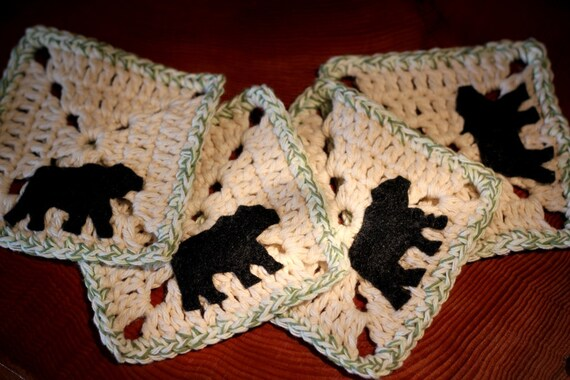 Crochet Coasters with Felt Bear accent - Cabin (set of 4) Perfect gift