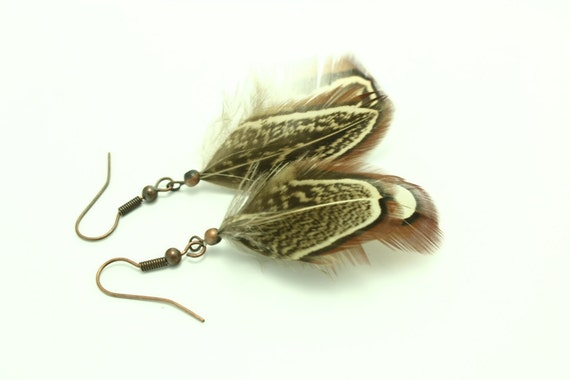 Natural Feather Earrings - Copper Brown feather earrings - Copper earrings -