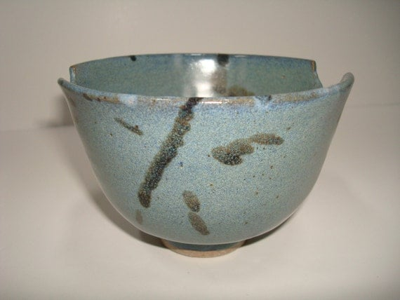 Blue and Black Spotted Rice Ceramic Bowl, Small Dips Bowl, Chopstick Holder Bowl, Modern Kitchen Bowl, Unique Clay Bowl