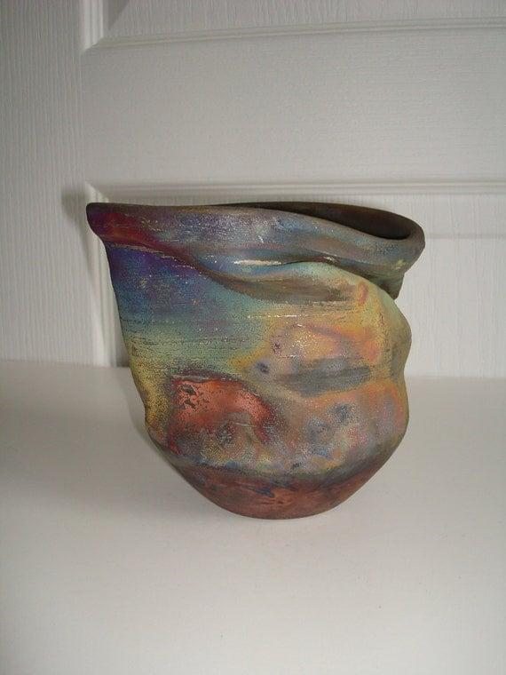 Rainbow Red Blue Gold Wobbi Raku Ceramic Vase, Abstract Modern Home Decor, Colorful Vessel