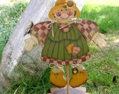 Girl Scarecrow Tole painted wooden shelf decor