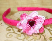 "Shaded Pink Crochet Flower Headband for Girls, Girl Hair Accessories (flower width 1.75""), Flower Girl Accessory"