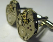 Wedding Jeweled Watch Movement Steampunk Cufflinks No Stem