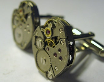 Wedding Jeweled Watch Movement Steampunk Cufflinks No Stem