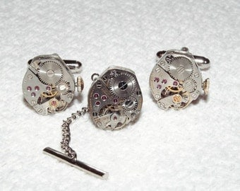 SALE Steampunk Watch Movement Cuff Links and Tie Tack