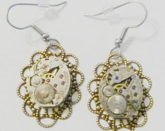 Steampunk Watch Movement Dangle Earrings