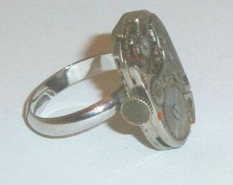 Jeweled Steampunk Watch Movement Adjustable Ring