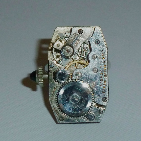 Art Deco Steampunk Watch Movement Adjustable Ring with Sapphire Stem