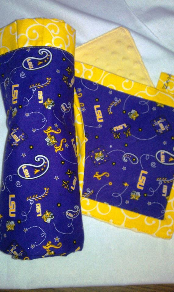 LSU Baby Blanket and LSU Burp Cloth Matching Set Purple and Gold Paisley Fleur De LIs Minky Dot Ruffle