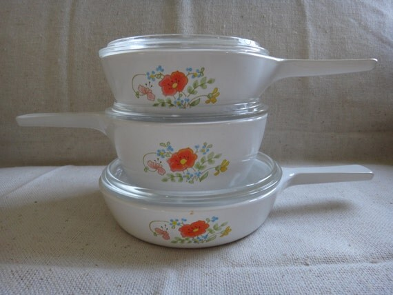 Vintage Corning Ware Wildflower 3 Skillet - Pan set with Lids